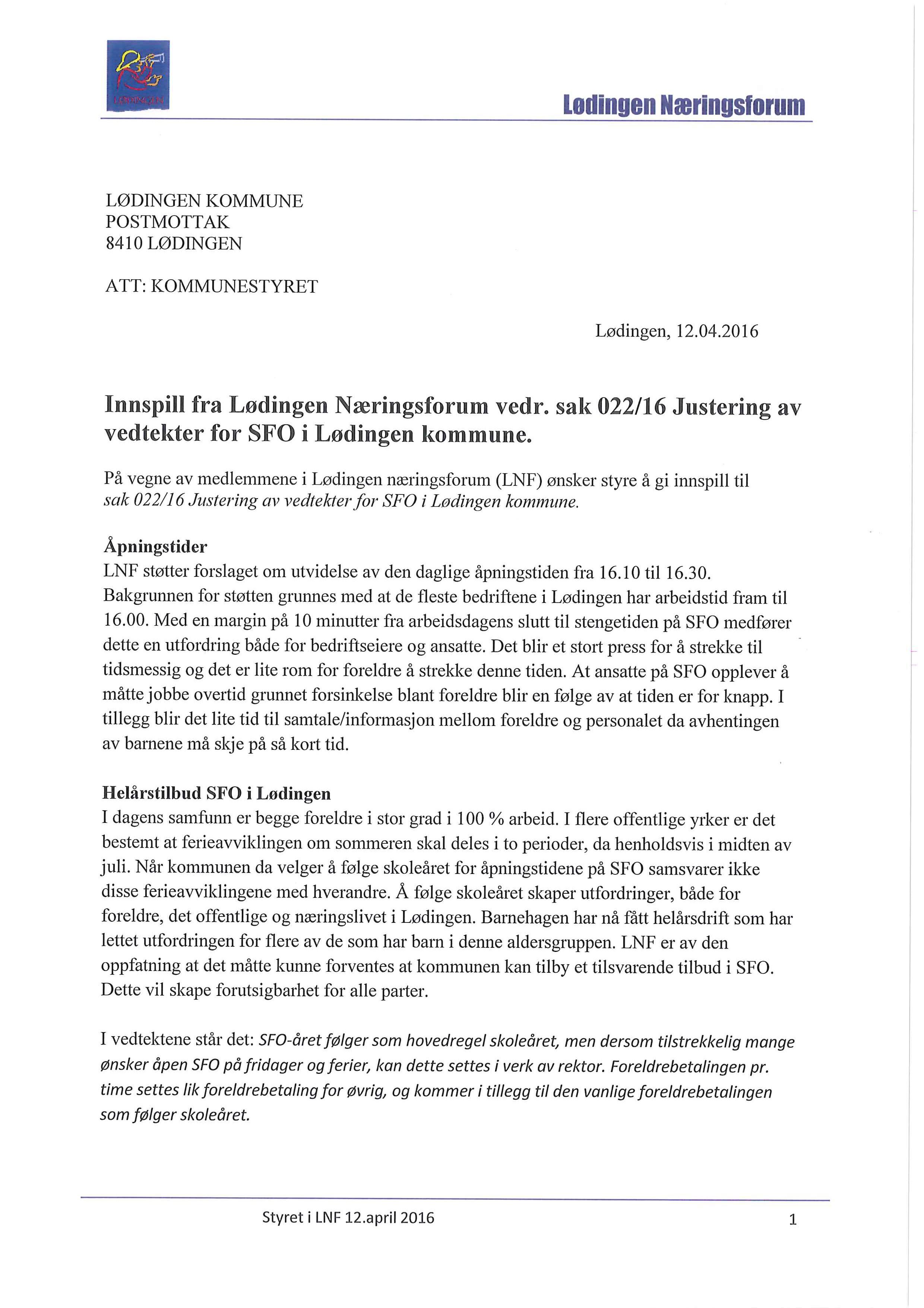 Innspill fra Lødingen Næringsforum vedr. sak 022_16 Justering av vedtekter for SFO i Lødingen kommune_0001